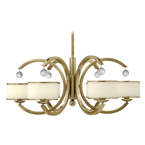 Hinkley Lighting Chandelier with White Glass in Brushed Caramel Finish 4856BC