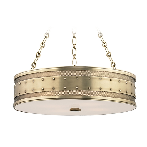 Hudson Valley Lighting Hudson Valley Lighting Gaines Aged Brass Pendant Light with Drum Shade 2222-AGB