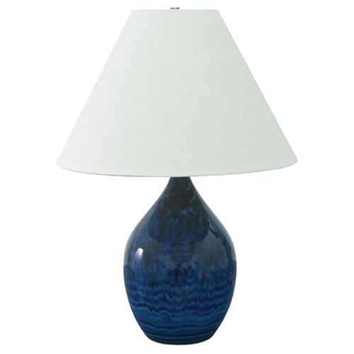 House of Troy Lighting House Of Troy Scatchard Midnight Blue Table Lamp with Conical Shade GS400-MID