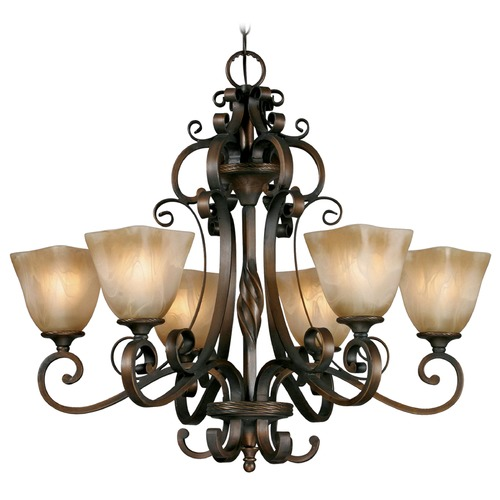 Golden Lighting Golden Lighting Meridian Golden Bronze Chandelier 3890-6 GB