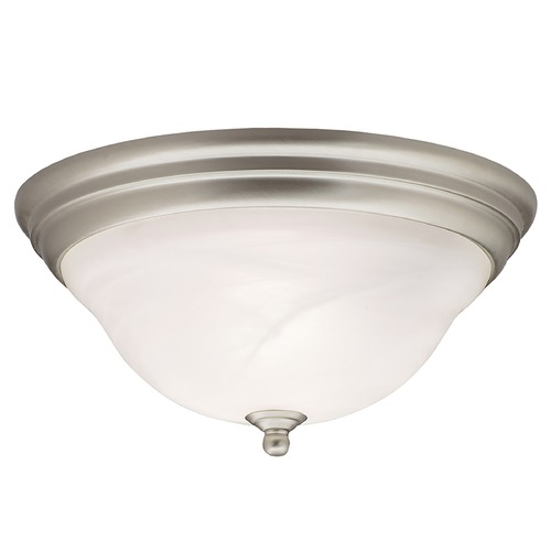 Kichler Lighting Kichler Flushmount Light with Alabaster Glass in Brushed Nickel Finish 8076NI