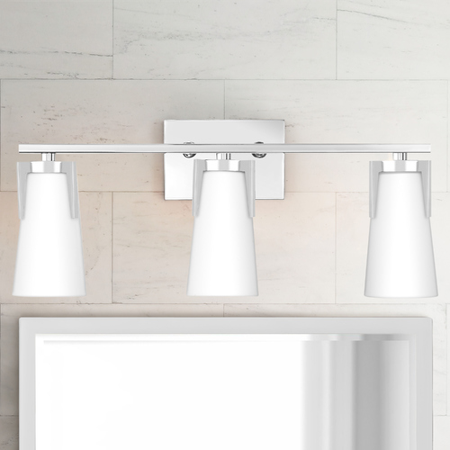 Quoizel Lighting Quoizel Miriam Polished Chrome 3-Light Bathroom Light with Opal Etched Glass Shades MIM8603C