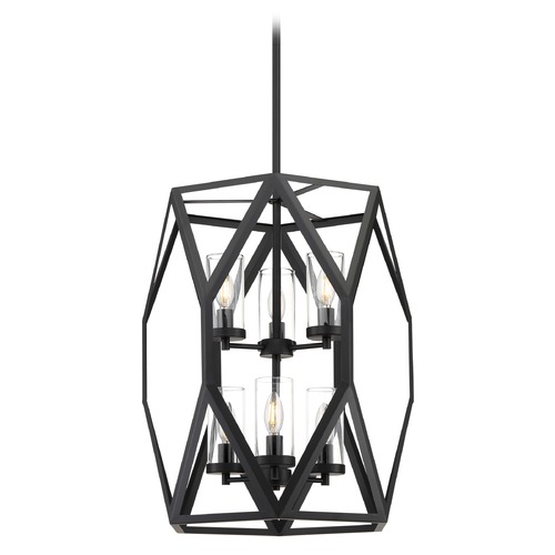 Satco Lighting Satco Lighting Zemi Black Pendant Light with Cylindrical Shade 60/7306