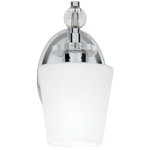 Quoizel Lighting Sconce Wall Light with White Glass in Polished Chrome Finish HS8601C
