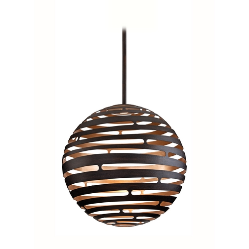 Corbett Lighting Modern LED Pendant Light with Brown Tones Cage Shade in Textured Bronze with Finish 138-44