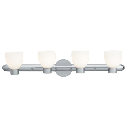 Access Lighting Modern Bathroom Light with White Glass in Brushed Steel Finish 23904-BS/OPL