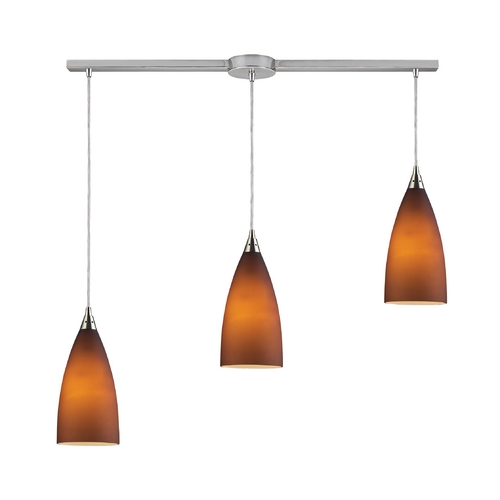 Elk Lighting Modern Multi-Light Pendant Light with Brown Glass and 3-Lights 2582/3L