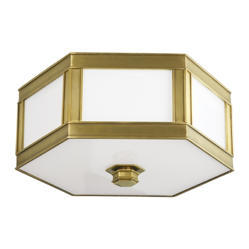 Hudson Valley Lighting Flushmount Light with White Glass in Aged Brass Finish 6416-AGB