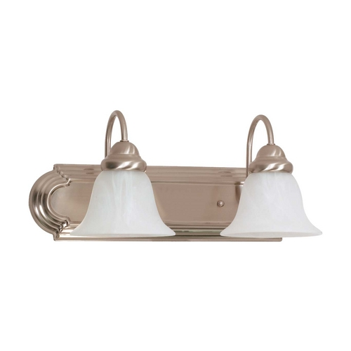 Nuvo Lighting Bathroom Light with Alabaster Glass in Brushed Nickel Finish 60/320