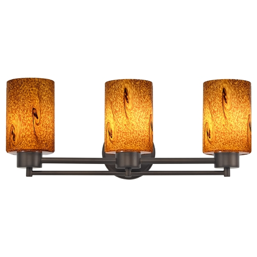 Design Classics Lighting Modern Bathroom Light with Brown Art Glass in Bronze Finish 703-220 GL1001C