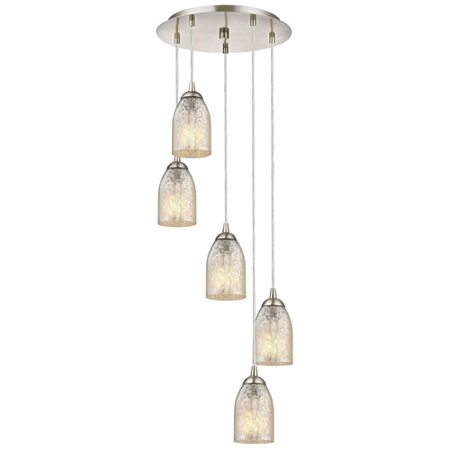 Design Classics Lighting Satin Nickel Multi-Light Pendant with Mercury Dome Glass and 5-Lights 580-09 GL1039D