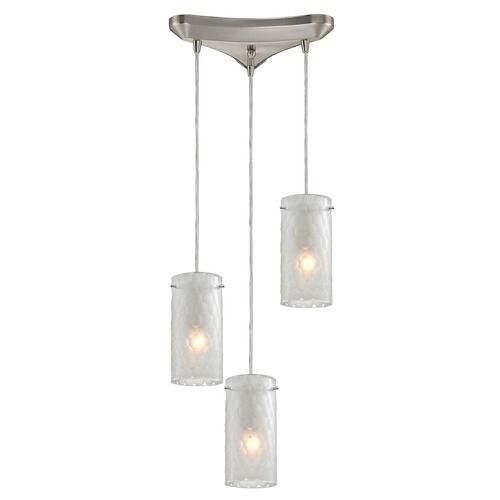 Elk Lighting Elk Lighting Synthesis Satin Nickel Multi-Light Pendant with Cylindrical Shade 10243/3FC