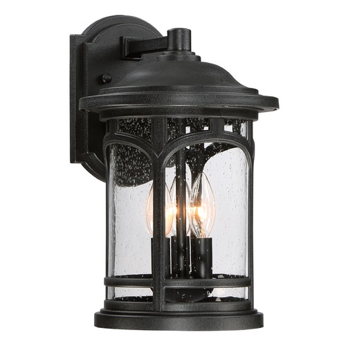 Quoizel Lighting Seeded Glass Outdoor Wall Light Black Quoizel Lighting MBH8409K