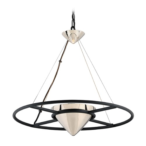 Troy Lighting Troy Lighting Zero Gravity Carbide Black and Polished Nickel LED Pendant Light with Conical Shade FL4816