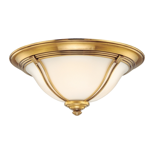 Hudson Valley Lighting Flushmount Light with White Glass in Flemish Brass Finish 5414-FB