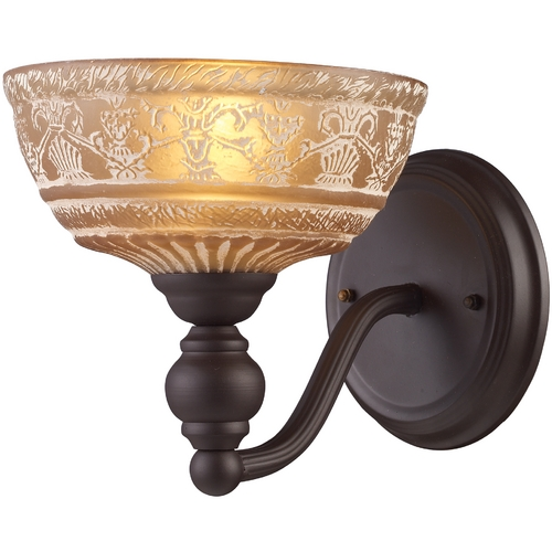 Elk Lighting Sconce Wall Light with Amber Glass in Oiled Bronze Finish 66190-1