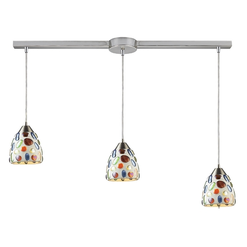 Elk Lighting Modern Multi-Light Pendant Light with Multi-Color Glass and 3-Lights 542-3L