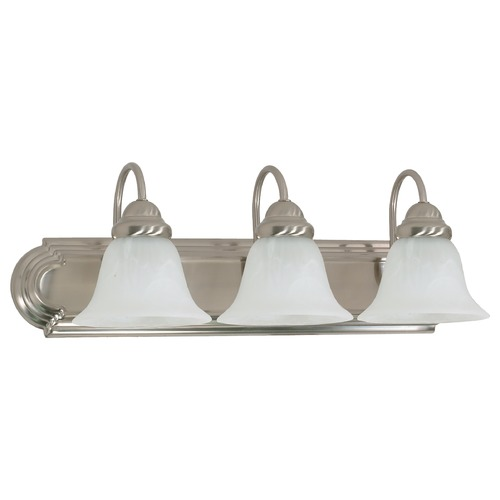 Nuvo Lighting Bathroom Light with Alabaster Glass in Brushed Nickel Finish 60/321
