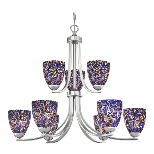 Design Classics Lighting Modern Chandelier in Polished Chrome Finish 586-26 GL1009MB