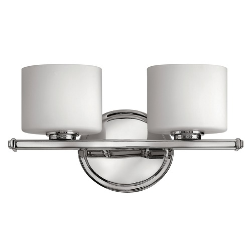 Hinkley Lighting Bathroom Light with White Glass in Chrome Finish 5422CM
