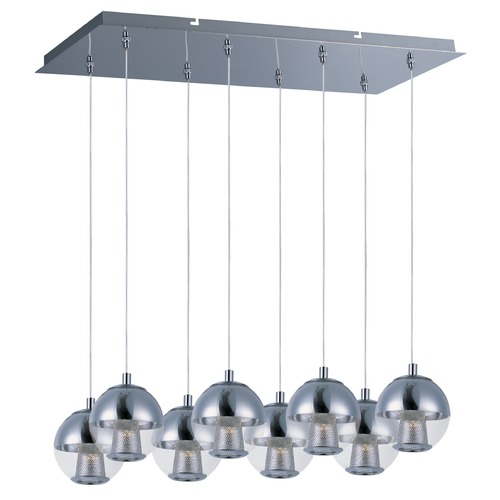 ET2 Lighting Reflex Polished Chrome LED Multi-Light Pendant with Globe Shade E22786-81PC