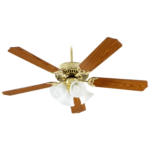 Quorum Lighting Quorum Lighting Capri V Polished Brass Ceiling Fan with Light 77525-8102