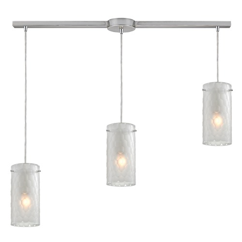 Elk Lighting Elk Lighting Synthesis Satin Nickel Multi-Light Pendant with Cylindrical Shade 10243/3L-FC