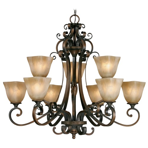 Golden Lighting Golden Lighting Meridian Golden Bronze Chandelier 3890-9 GB