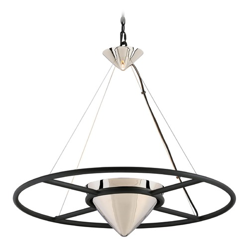 Troy Lighting Troy Lighting Zero Gravity Carbide Black and Polished Nickel LED Pendant Light with Conical Shade FL4817