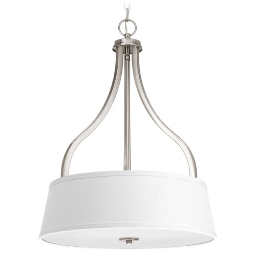 Progress Lighting Progress Lighting Arden Brushed Nickel Pendant Light with Drum Shade P3905-09