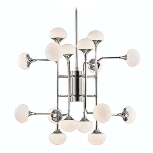 Hudson Valley Lighting Mid-Century Modern LED Chandelier Polished Nickel Fleming by Hudson Valley Lighting 4716-PN
