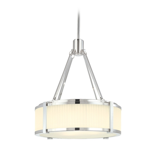 Sonneman Lighting Drum Pendant Light with White Glass in Polished Nickel Finish 4352.35