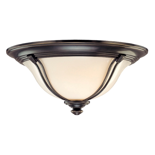 Hudson Valley Lighting Flushmount Light with White Glass in Old Bronze Finish 5414-OB