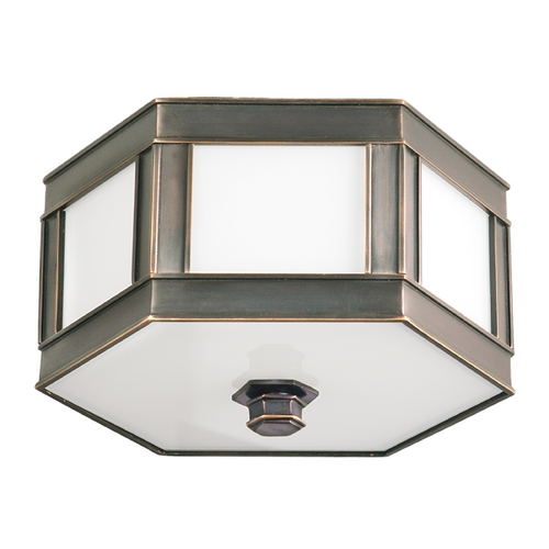 Hudson Valley Lighting Flushmount Light with White Glass in Old Bronze Finish 6416-OB