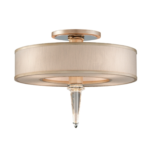 Corbett Lighting Art Deco Crystal Semi-Flushmount Light Tranquility Silver Leaf Harlow by Corbett Lighting 166-34