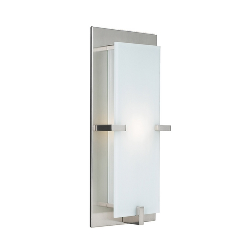 PLC Lighting Modern Sconce Wall Light with White Glass in Satin Nickel Finish 909 SN