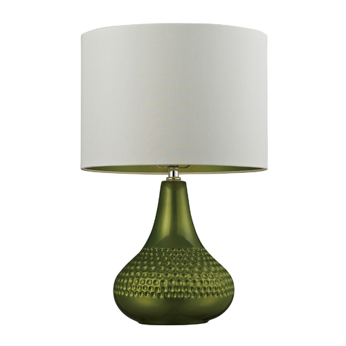 Dimond Lighting Table Lamp in Bright Green with White Drum Shade D266