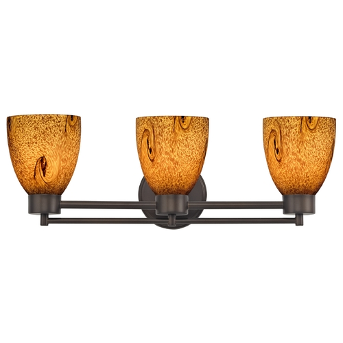 Design Classics Lighting Modern Bathroom Light with Brown Art Glass in Bronze Finish 703-220 GL1001MB