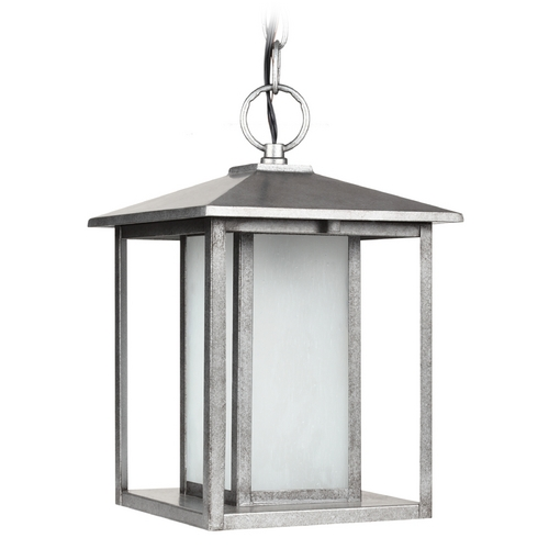 Sea Gull Lighting Outdoor Hanging Light with White Glass in Weathered Pewter Finish 69029BLE-57