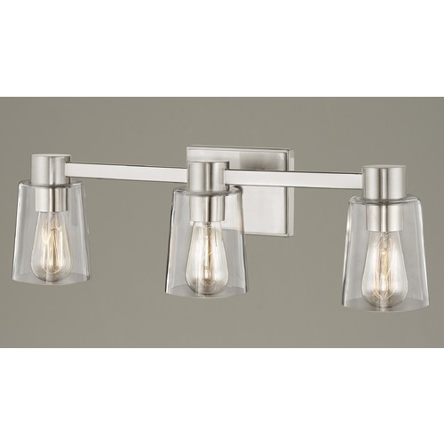 Design Classics Lighting 3-Light Clear Glass Bathroom Light Satin Nickel 2103-09 GL1027-CLR