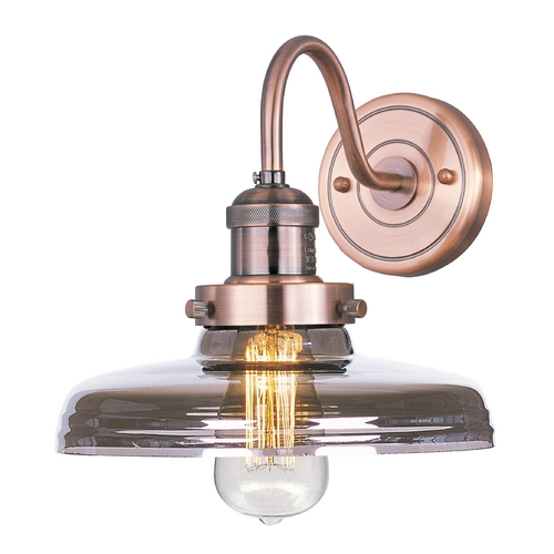 Maxim Lighting Sconce Wall Light with Clear Glass in Antique Copper Finish 25087MSKACP/BUI