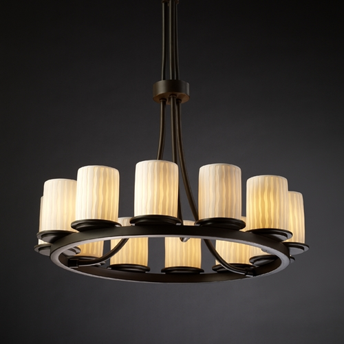 Justice Design Group Justice Design Group Limoges Collection Chandelier POR-8763-10-WFAL-DBRZ