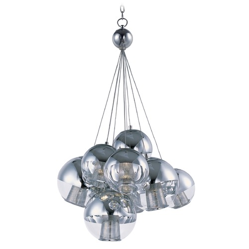 ET2 Lighting Reflex Polished Chrome LED Pendant Light with Globe Shade E22787-81PC