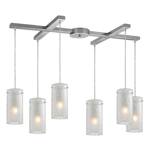 Elk Lighting Elk Lighting Synthesis Satin Nickel Multi-Light Pendant with Cylindrical Shade 10243/6FC