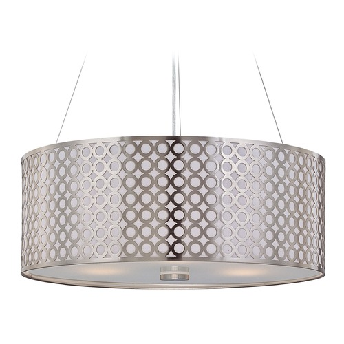 Lite Source Lighting Lite Source Netto Polished Steel Pendant Light with Drum Shade LS-19519PS