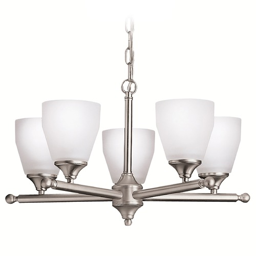 Kichler Lighting Kichler Modern Chandelier with White Glass in Brushed Nickel Finish 1748NI