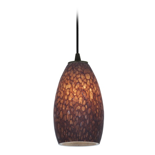 Access Lighting Access Lighting Champagne Oil Rubbed Bronze LED Mini-Pendant Light with Oblong Shade 28012-3C-ORB/BRST