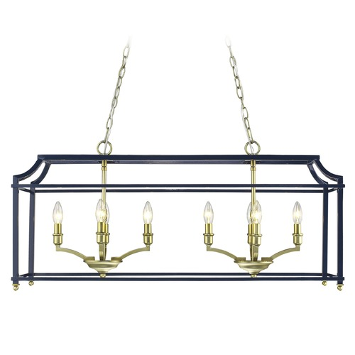 Golden Lighting Leighton SB Linear Pendant in Satin Brass with Navy 8401-LPSB-NVY