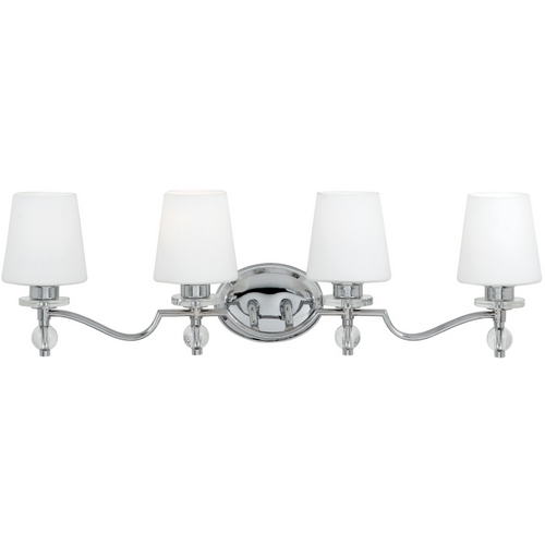 Quoizel Lighting Bathroom Light with White Glass in Polished Chrome Finish HS8604C