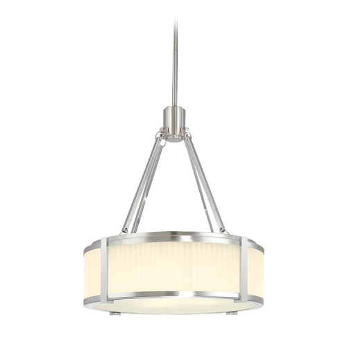 Sonneman Lighting Drum Pendant Light with White Glass in Satin Nickel Finish 4352.13